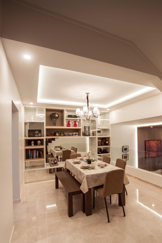 Modern, Landed, Dining Room, Cactus Road, Interior Designer, Space Atelier, Concealed Lighting, Chandelier, Bench, Couch, Furniture, Indoors, Interior Design, Room, Bookcase, Light Fixture