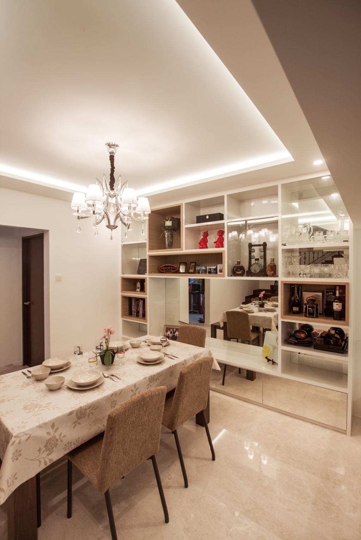 Modern, Landed, Dining Room, Cactus Road, Interior Designer, Space Atelier, Chandelier, Open Shelf, Indoors, Interior Design, Room, Light Fixture, Couch, Furniture, Bathroom, Lamp