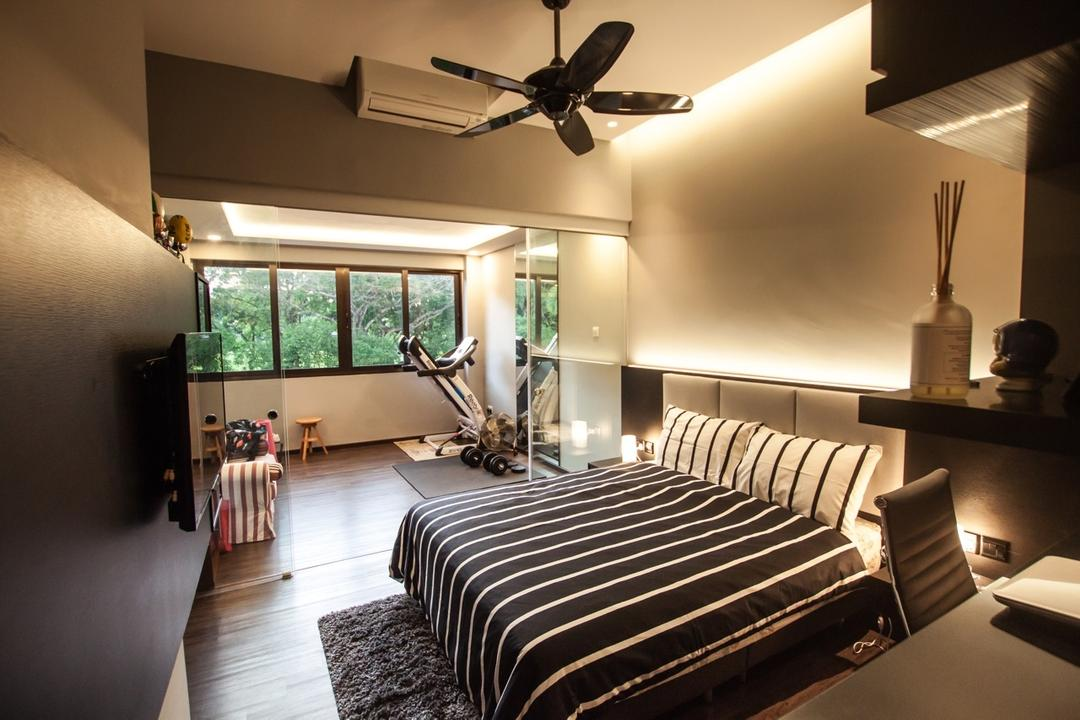 Cactus Road, Space Atelier, Modern, Bedroom, Landed, Concealed Lighting, Stripe Bedsheet, Light Fixture, Indoors, Room