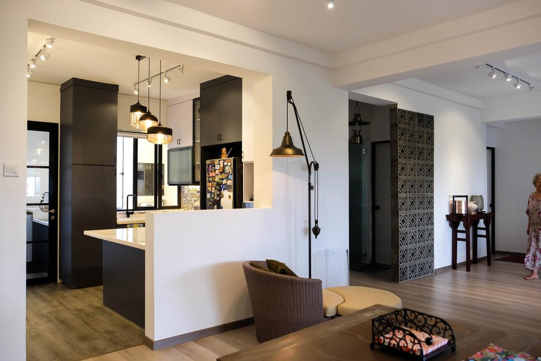 Neptune Court, Fifth Avenue Interior, Eclectic, Kitchen, Condo, Open Kitchen, Open Concept, Colonial, Pendant Lights, Floor Lamp, Black And White, Monochrome, Pendant Lamps, Half Hack, Couch, Furniture, Dining Room, Indoors, Interior Design, Room, Flooring