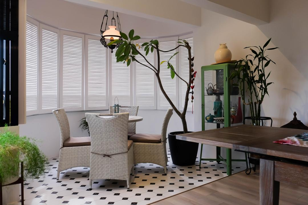 Neptune Court, Fifth Avenue Interior, Eclectic, Balcony, Condo, Upholstery, Upholstered Chairs, Pendant Light, Shutter Windows, Colonial Style, Dining Room, Indoors, Interior Design, Room, Flora, Jar, Plant, Potted Plant, Pottery, Vase, Desk, Furniture, Table