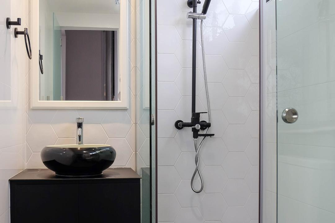 Neptune Court, Fifth Avenue Interior, Eclectic, Bathroom, Condo, Rainshower, Glass Door, Glass Cubicle, Black And White, Monochrome, Black Basin, Round Basin, Wall Mirror, Black Vanity, Colonial, Black Rainshower, Shower, Rain Shower, Sink