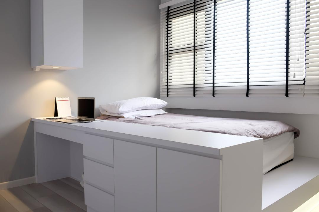 Neptune Court, Fifth Avenue Interior, Eclectic, Bedroom, Condo, Study Against Bed, Venetian Blinds, Platform, Steps, White, All White, White Partition, Drawers, Furniture