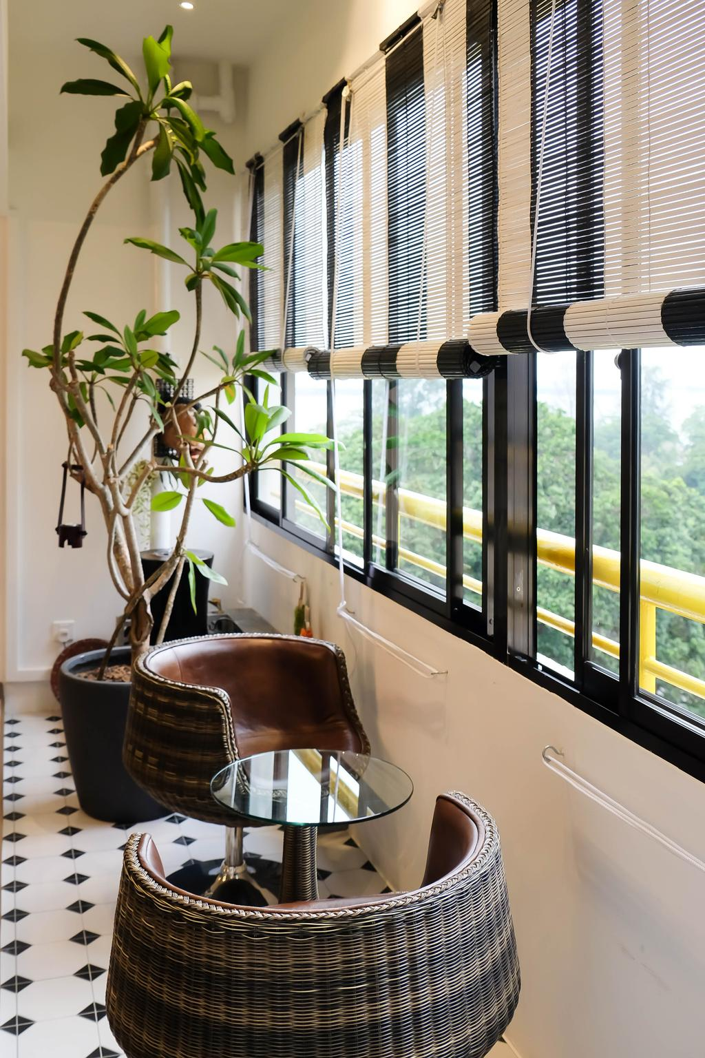 Eclectic, Condo, Balcony, Neptune Court, Interior Designer, Fifth Avenue Interior, Roller Blinds, Garden Blinds, Outdoor Stools, Cane Chair, Colonial Tiles, Black And White, White And Black, Potted Plants, Flora, Jar, Plant, Potted Plant, Pottery, Vase