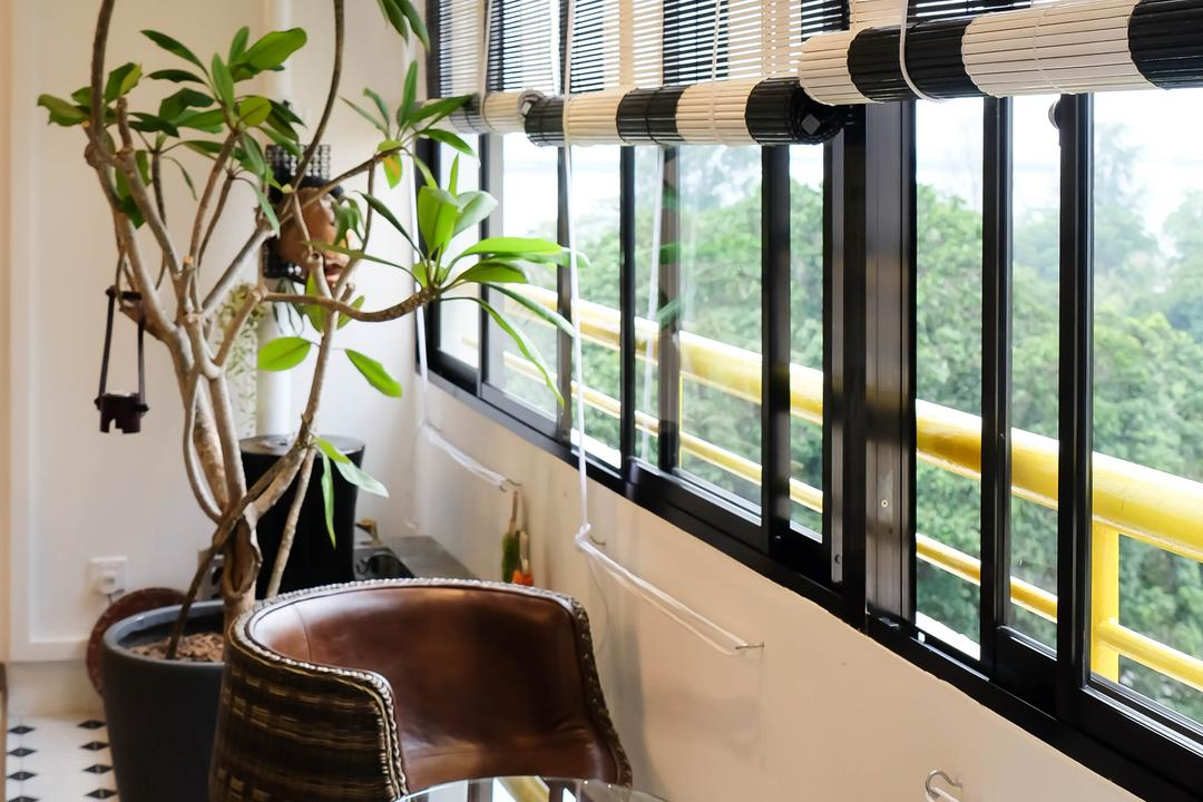 Neptune Court, Fifth Avenue Interior, Eclectic, Balcony, Condo, Roller Blinds, Garden Blinds, Outdoor Stools, Cane Chair, Colonial Tiles, Black And White, White And Black, Potted Plants, Flora, Jar, Plant, Potted Plant, Pottery, Vase