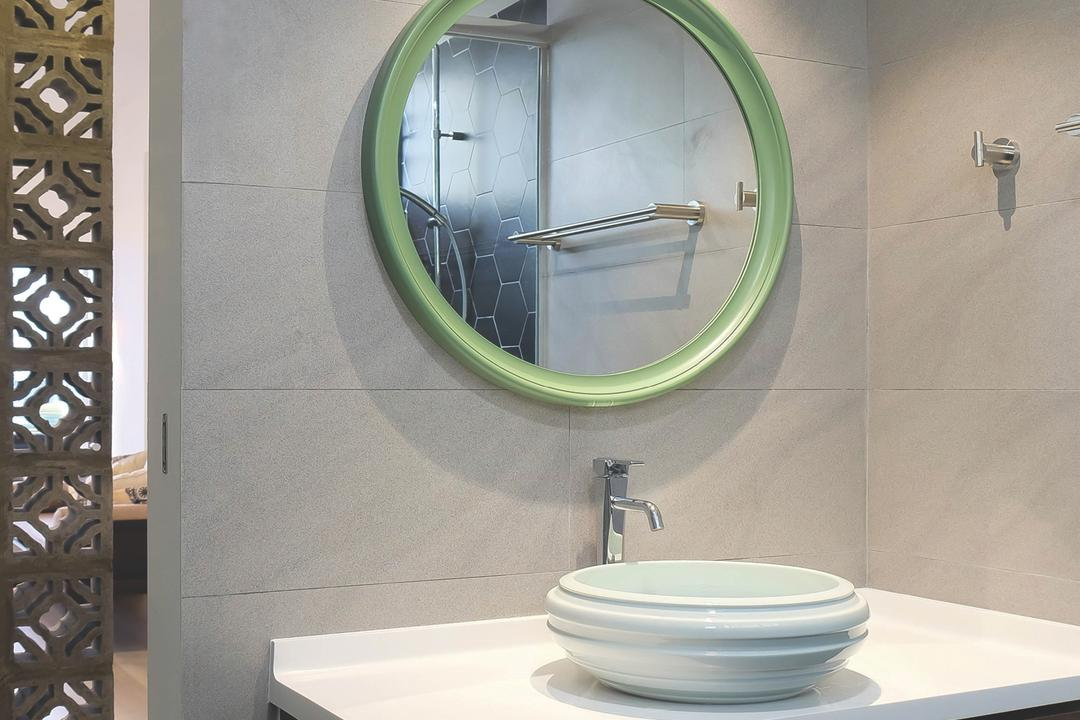 Neptune Court, Fifth Avenue Interior, Eclectic, Bathroom, Condo, Round Mirror, Ventilation Bricks, Open Concept, Marble Print, Marble Wall, Marble Tiles, Vanity Counter, Round Basin, Faucet, Basin, Countertop