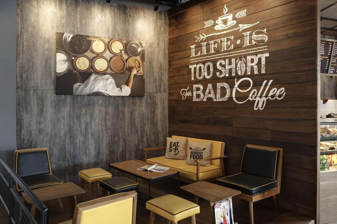 Joe & Dough (Kallang Leisure Park), Liid Studio, Scandinavian, Commercial, Shop Interior, Slogan, Wall Art, Grafitti, Wood, Laminate, Platform, Woody, Neutral Tones, Coffee Table, Chairs, Couch, Chair, Furniture