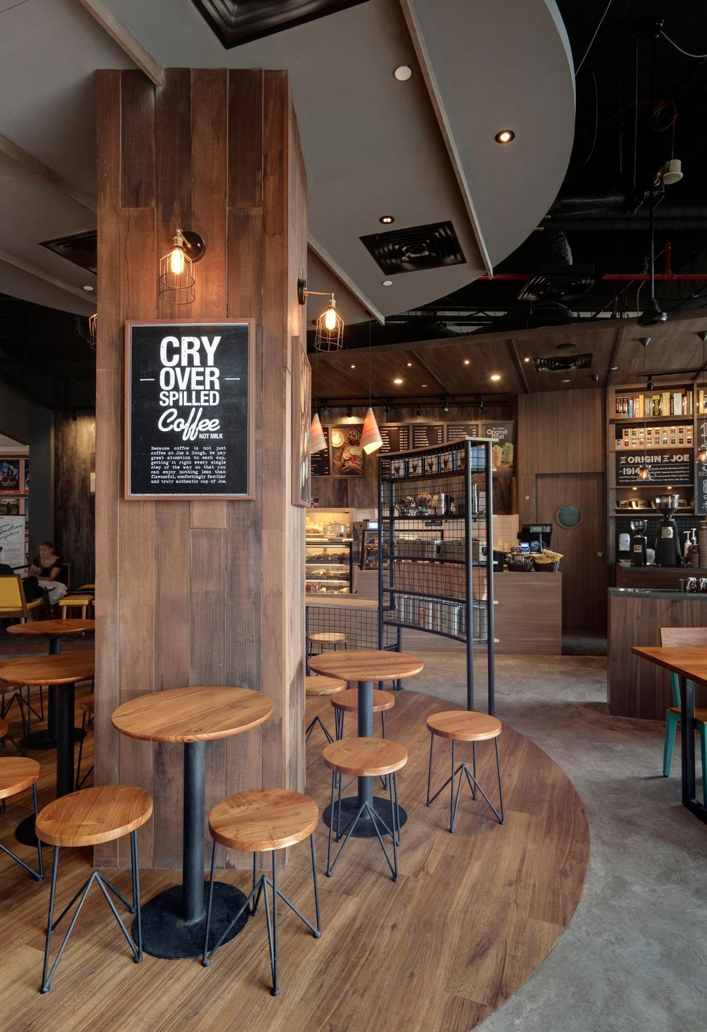 Joe & Dough (Kallang Leisure Park), Commercial, Interior Designer, Liid Studio, Scandinavian, Shop Interior, Coffee Table, Round Table, Stool, Wood, Laminate, Wall Lamp, Cafe, Restaurant, Chair, Furniture, Dining Table, Table, Lighting, Couch, Bench, Bar Counter, Pub
