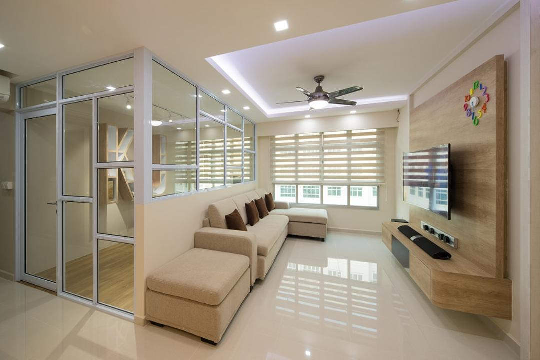 Sunshine Gardens, Absolook Interior Design, Contemporary, Scandinavian, Living Room, HDB, White Partiton, Half Hack, Glass Wall, Reflective, Monochrome, Floor Tiles, Beige, Nude, Taupe, Neutral Colours, Recessed Lights, Covelights, Ceiling Fan, Ottoman, Sectionals, Indoors, Interior Design