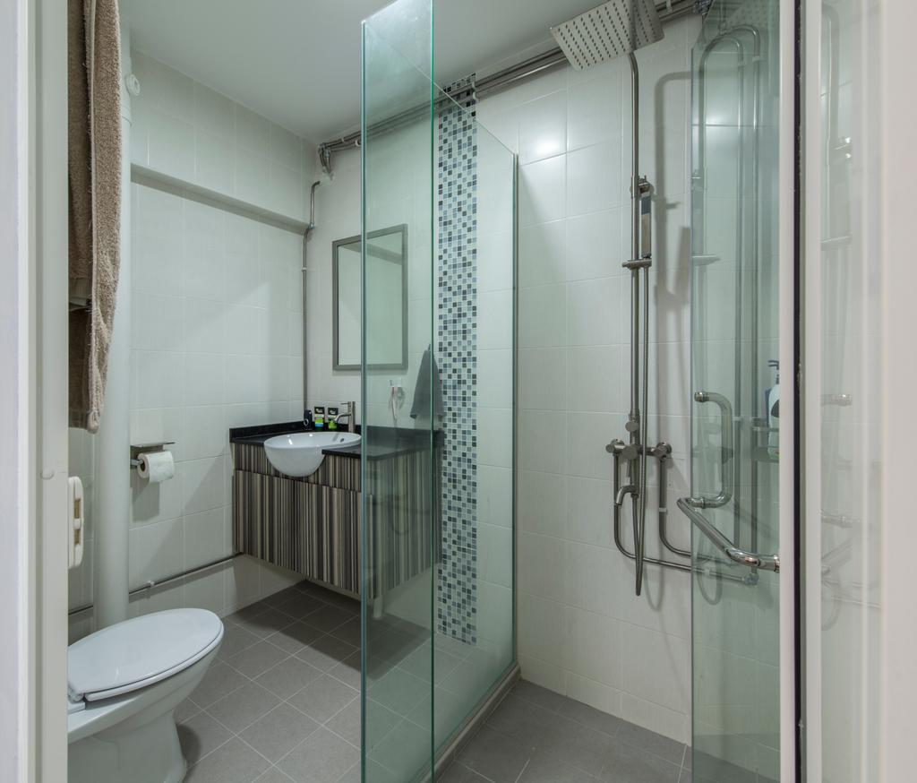 Contemporary, HDB, Bathroom, Gangsa Road (Block 101), Interior Designer, VNA Design, Toilet Cabinet, Glass Panelled Shower, Ceramic Tiles, Sink Countertop, Modern Contemporary Bathroom, Indoors, Interior Design, Room