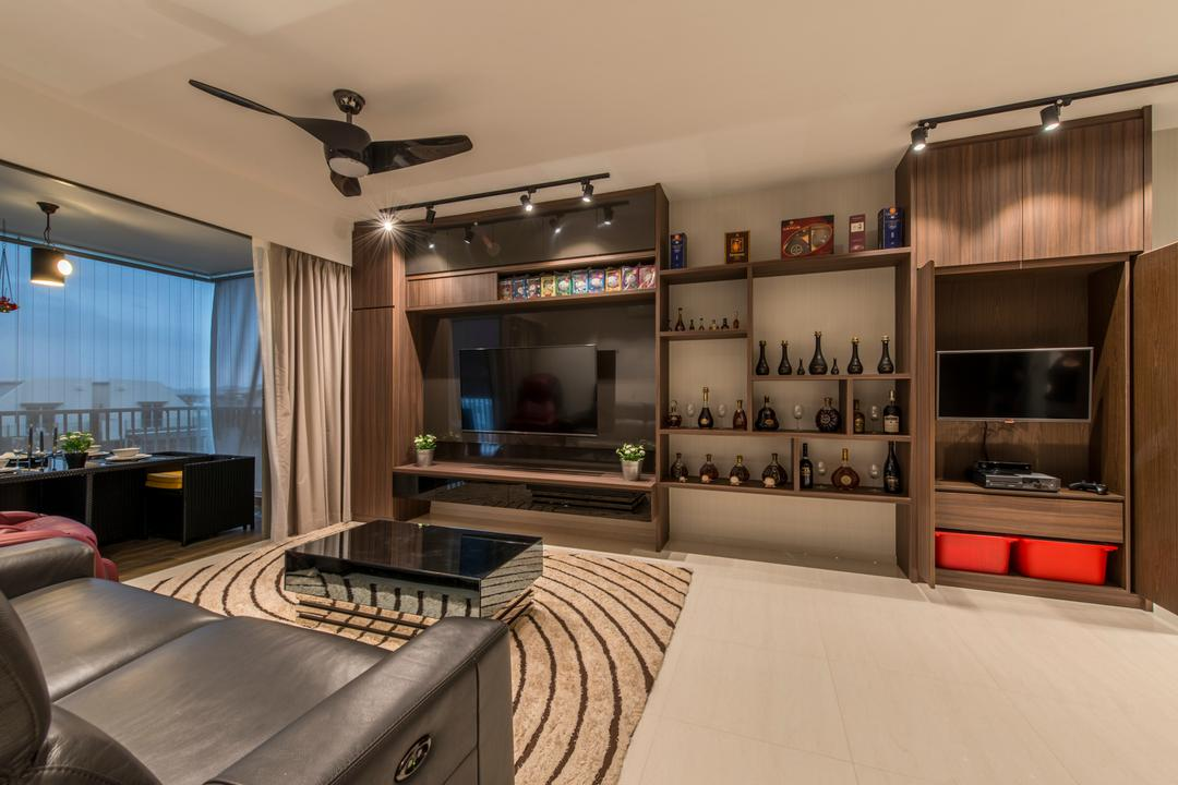 Ripple Bay, VNA Design, Contemporary, Living Room, Condo, Black Spin Fan, Black Ceiling Fan, Black Track Lights, Rug, Balacony, Wood Feature All, Wood Tv Console, Marble Tile, Sling Curtain, Wall Mounted Television, Television Console, Couch, Furniture, HDB, Building, Housing, Indoors