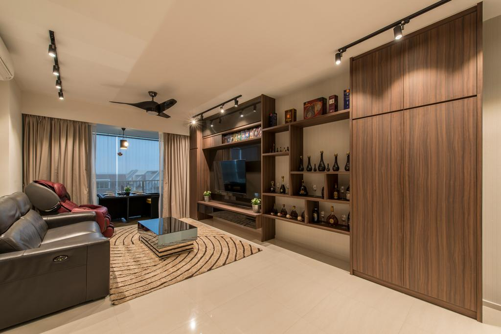 Contemporary, Condo, Living Room, Ripple Bay, Interior Designer, VNA Design, Black Track Lights, Wood Feature Wall, Wood Tv Console, Grey Leather So, Black Ceiling Fan, Rug, Marble Floor, Couch, Furniture, Indoors, Interior Design, Electronics, Entertainment Center