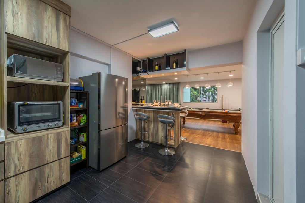 Contemporary, HDB, Kitchen, Gangsa Road (Block 101), Interior Designer, VNA Design, Dry Kitchen, Openkitchen, Down Light, Wood Cabinets, Black Tiles, Black Ceramic Tiles, , Ceiling Light, Modern Contemporary Kitchen