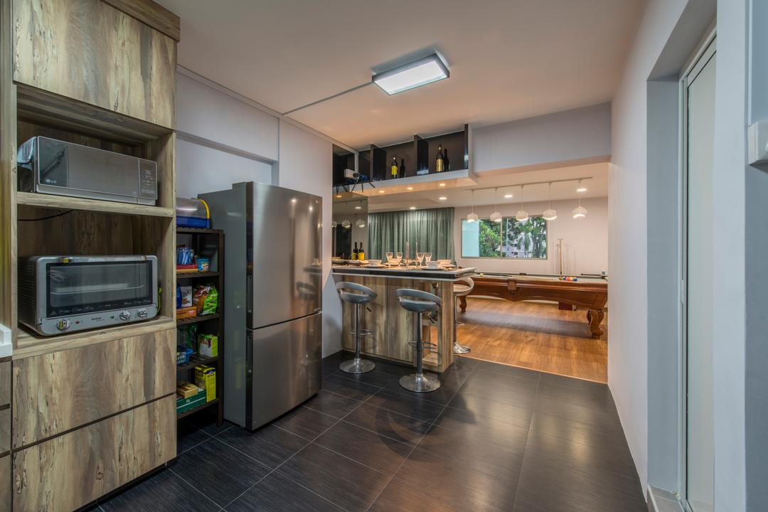 Gangsa Road (Block 101), VNA Design, Contemporary, Kitchen, HDB, Dry Kitchen, Openkitchen, Down Light, Wood Cabinets, Black Tiles, Black Ceramic Tiles, , Ceiling Light, Modern Contemporary Kitchen
