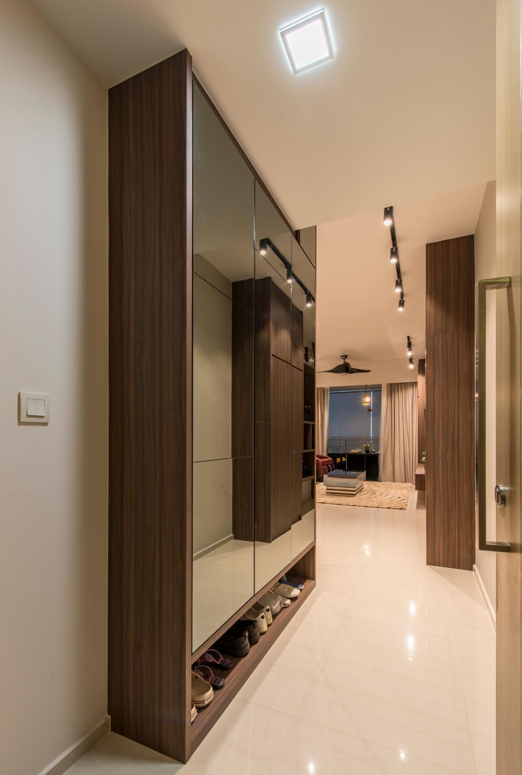 Contemporary, Condo, Living Room, Ripple Bay, Interior Designer, VNA Design, Marble Floor, Black Track Lights, Wood Shelving