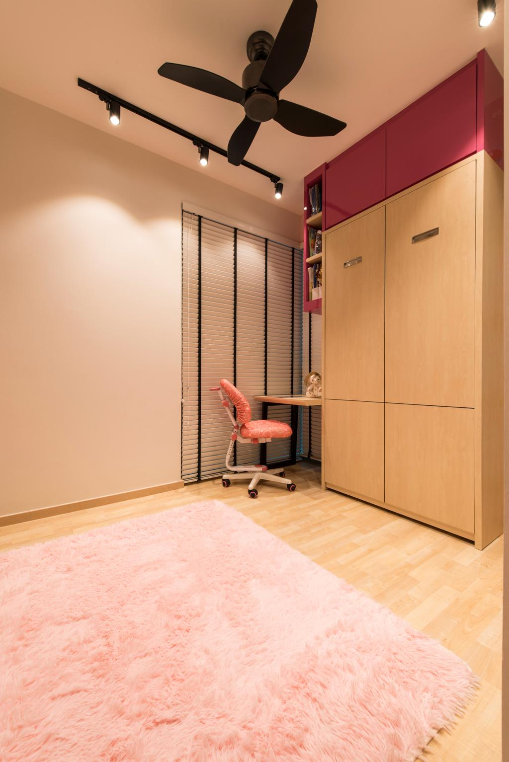 Contemporary, Condo, Bedroom, Ripple Bay, Interior Designer, VNA Design, Pink Rug, Black Track Lights, Wood Cupboard, Study Des, White Venetian Blinds, Wood Floor