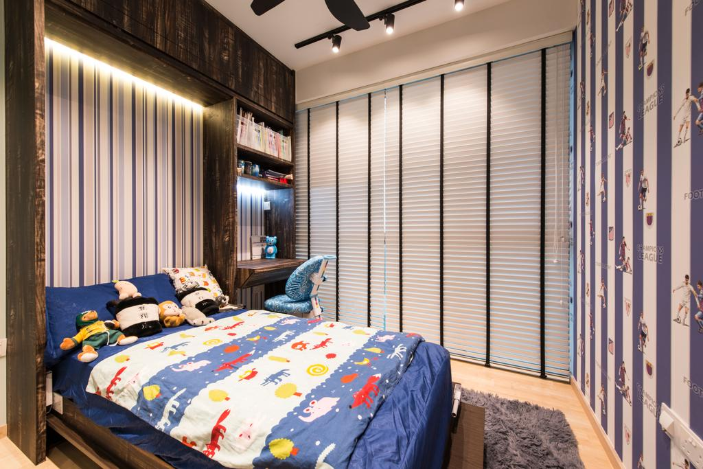 Contemporary, Condo, Bedroom, Ripple Bay, Interior Designer, VNA Design, White Venetian Blinds, Black Track Lights, Wood Shleving, Study Desk, Rug, Wood Floor, Wall Paper, Bed, Furniture, Indoors, Interior Design, Room