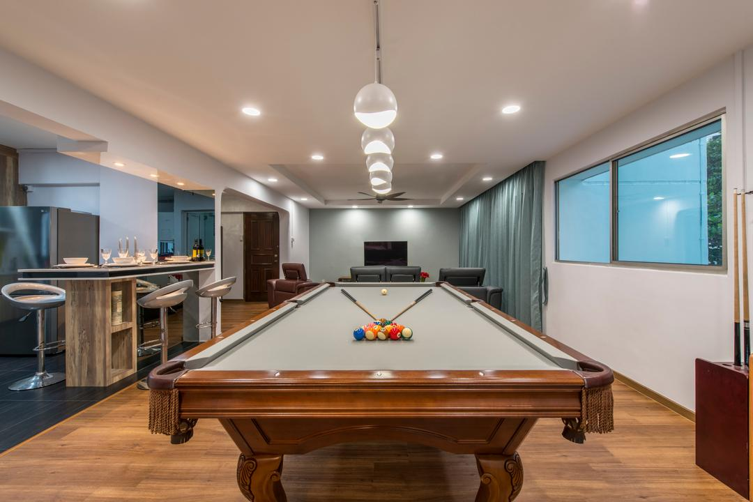 Gangsa Road (Block 101), VNA Design, Contemporary, Living Room, HDB, Pool Table, Parquet, Down Light, Open Kitchen, Wooden Floor, Recessed Lights, Island Table, Hanging Lights, Billiard Room, Furniture, Indoors, Room, Table