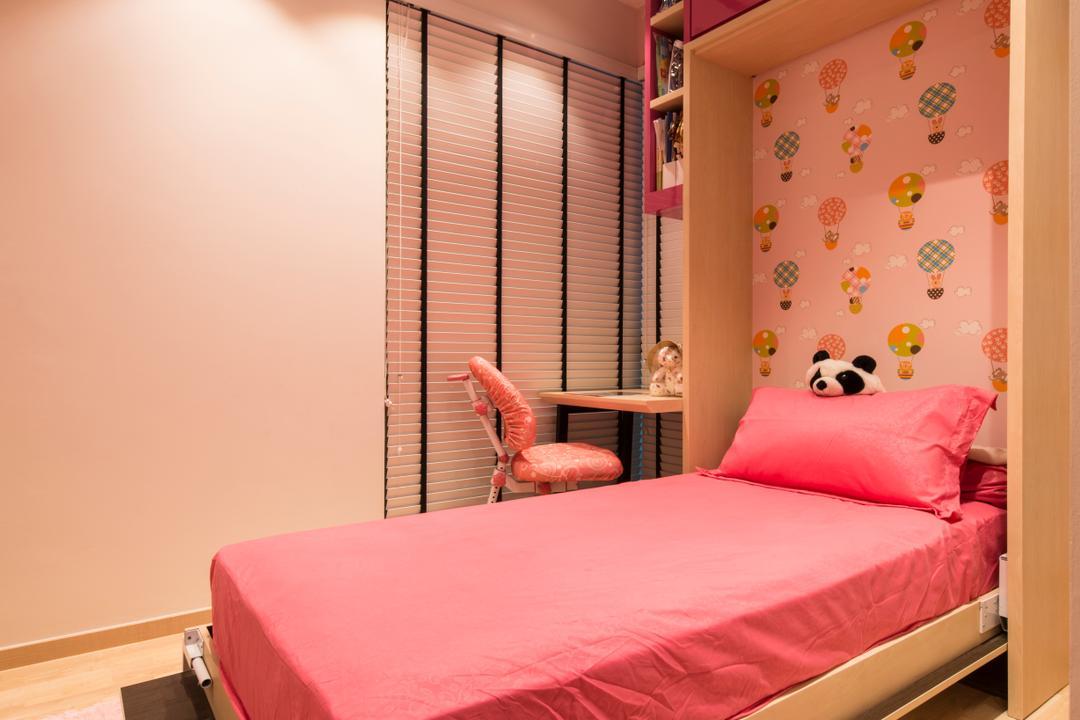 Ripple Bay, VNA Design, Contemporary, Bedroom, Condo, Black Spin Fan, Black Ceiling Fan, Pink Bed, White Venetian Blinds, Wood Floor, Indoors, Interior Design, Room, Molding
