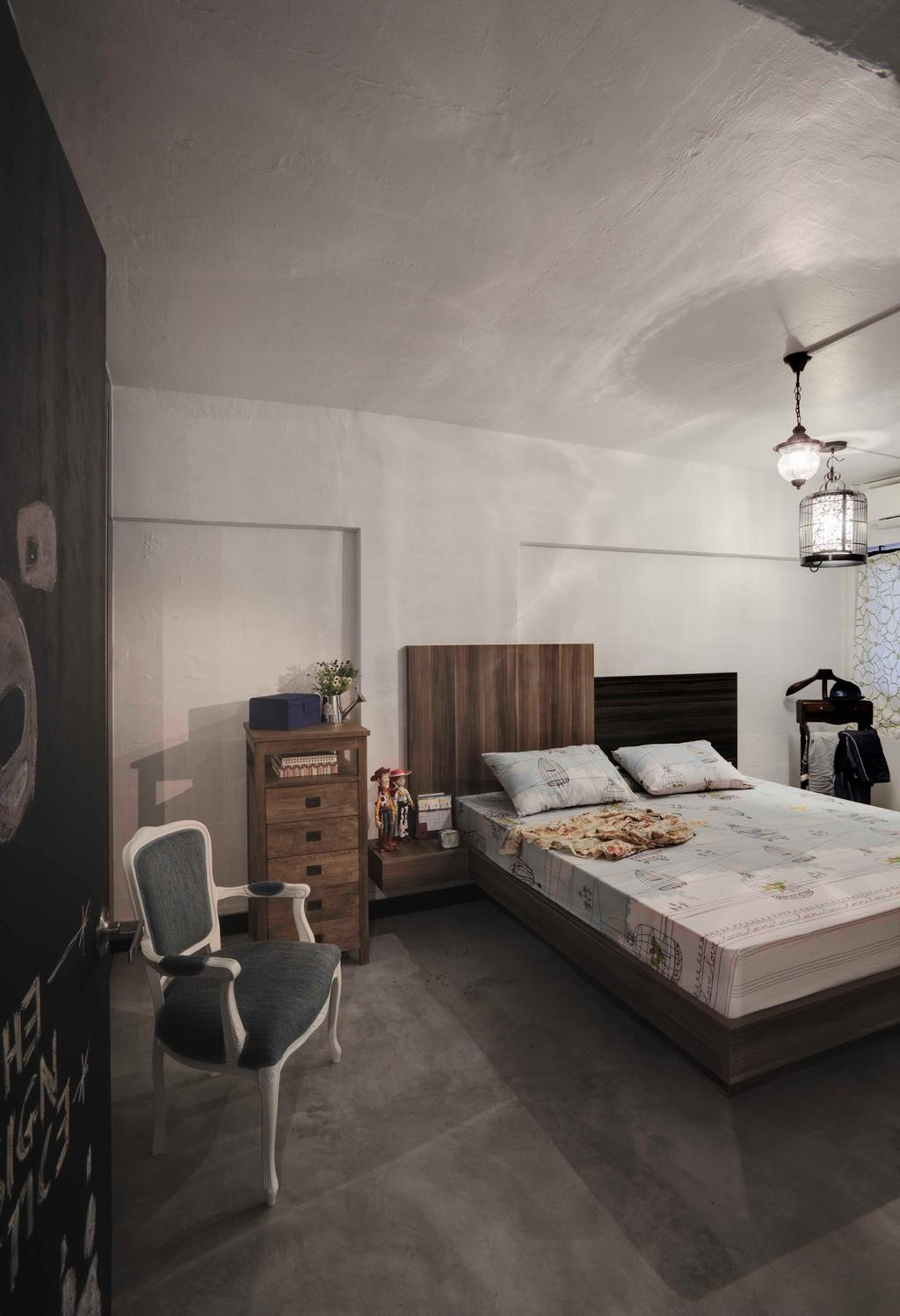 Industrial, HDB, Bedroom, Bedok North, Interior Designer, The Design Practice, Hanging Light, Cement Flooring, Grey, Gray, Monochrome, Wood, Chair, Furniture, Light Fixture, Indoors, Interior Design, Room