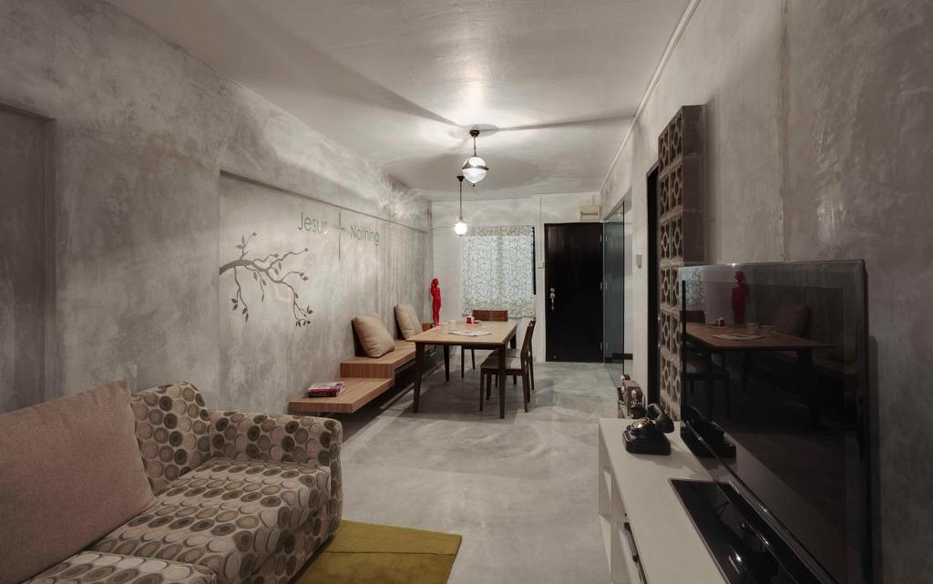 Industrial, HDB, Living Room, Bedok North, Interior Designer, The Design Practice, Tv Console, Cement, Gray, Grey, Monochrome, Ceiling Light, Ceiling Fan, Sofa, Rug, Raw, Couch, Furniture, Dining Room, Indoors, Interior Design, Room, Building, Housing, Dining Table, Table
