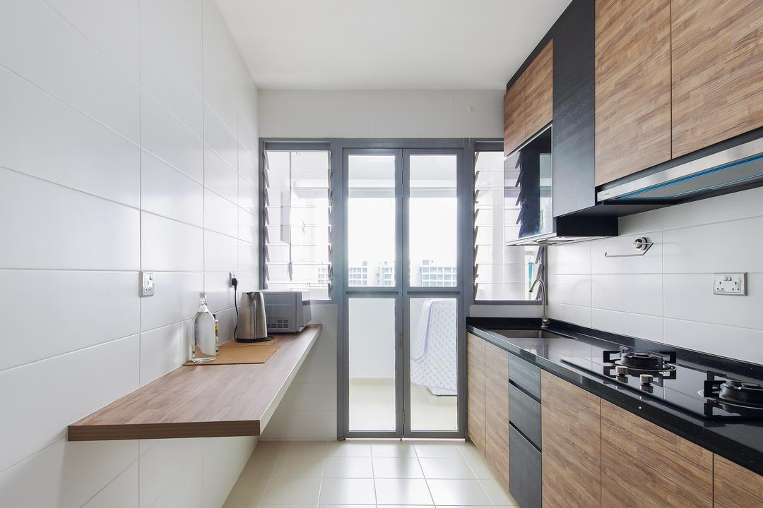 Upper Serangoon Crescent, Dap Atelier, Scandinavian, Industrial, Kitchen, HDB, Ceranic Square Tile, Wall Mounted Table, Wall Mounted Light, Glass Panels, Wooden Kitchen Cupboard With Marble Top, Wall Mounted Wooden Kitchen Cupboard, Wall Mounted Wooden Ledge, Indoors, Interior Design, Sink