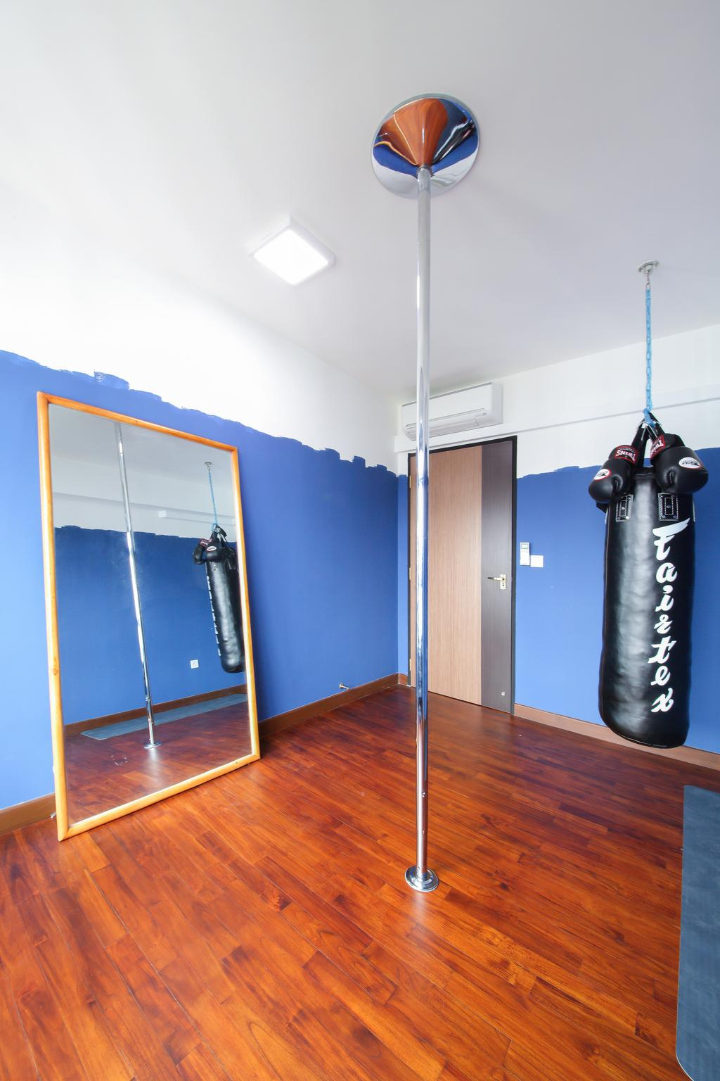 Scandinavian, HDB, Bedroom, Upper Serangoon Crescent, Interior Designer, Dap Atelier, Industrial, Wooden Floor, Wall Mounted Lights, Long Metallic Pole, Punching Bag, Blue Walls, Mirror, Air Condition, Door, Sliding Door