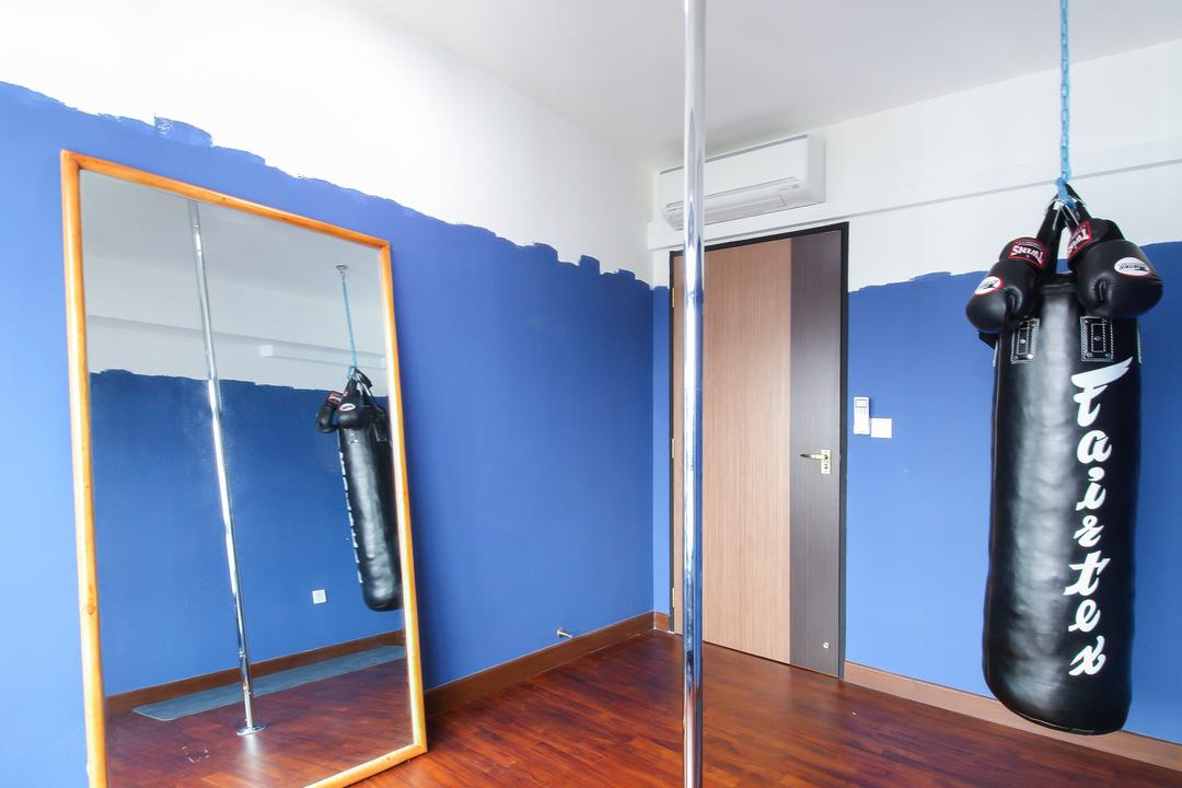 Upper Serangoon Crescent, Dap Atelier, Scandinavian, Industrial, Bedroom, HDB, Wooden Floor, Wall Mounted Lights, Long Metallic Pole, Punching Bag, Blue Walls, Mirror, Air Condition, Door, Sliding Door