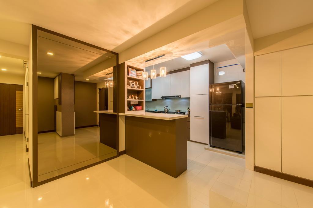 Contemporary, HDB, Punggol Drive (Block 677C), Interior Designer, Project Guru, Shelving, Mirror Wall, Island Table, Open Kitchen, Marble Tiles, Marble, Closet, Furniture, Wardrobe