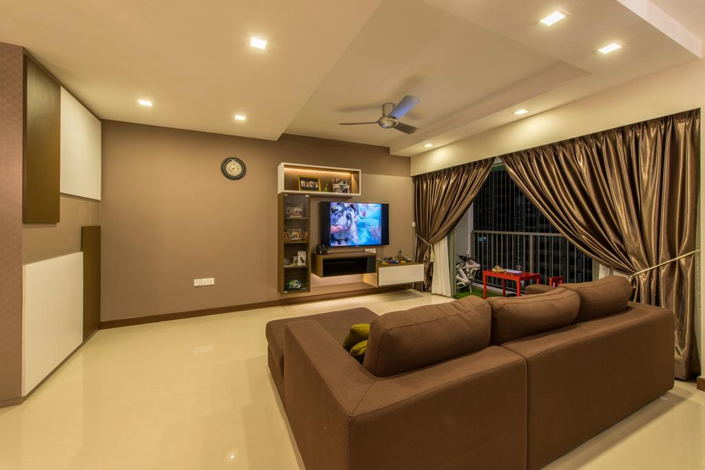 Contemporary, HDB, Living Room, Punggol Drive (Block 677C), Interior Designer, Project Guru, Down Lights, Brown L Shaped Sofa, Marble Flooring, Marble Tiles, Shleving, Ceiling Fan, Couch, Furniture, Electronics, Entertainment Center, Indoors, Room, Home Theater