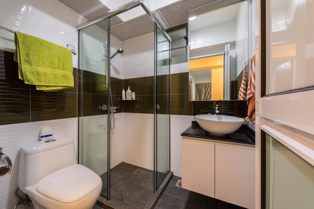 Punggol Drive (Block 677C), Project Guru, Contemporary, Bathroom, HDB, Shower Screen, Toilet, Indoors, Interior Design, Room
