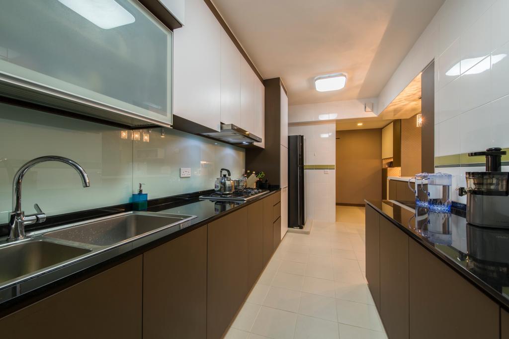 Contemporary, HDB, Kitchen, Punggol Drive (Block 677C), Interior Designer, Project Guru, Wood Cabinets, Granite Top, Indoors, Interior Design