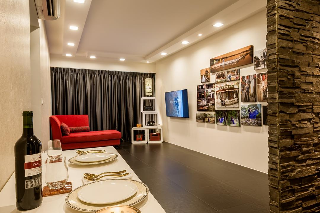 Rivervale Crescent (Block 178A), Le Interi, Contemporary, HDB, Stone Wall, Down Lights, Red Sofa, Black Floor Tiles, Indoors, Interior Design, Dining Room, Room, Bottle