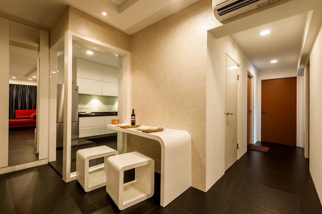 Rivervale Crescent (Block 178A), Le Interi, Contemporary, Dining Room, HDB, Which Dining Table, Cubic White Chairs, Cubic Chairs, Black Tiles, Indoors, Interior Design, Flooring