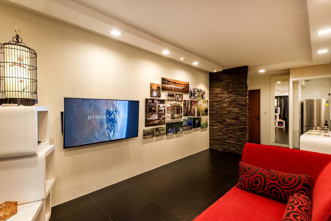 Rivervale Crescent (Block 178A), Le Interi, Contemporary, Living Room, HDB, Down Light, Red Sofa, Black Tiles, Stone Wall, Couch, Furniture, Blackboard