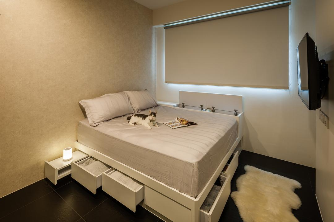 Rivervale Crescent (Block 178A), Le Interi, Contemporary, Bedroom, HDB, White Roller Blind, Bed Drawers, Bed, Furniture, Indoors, Interior Design