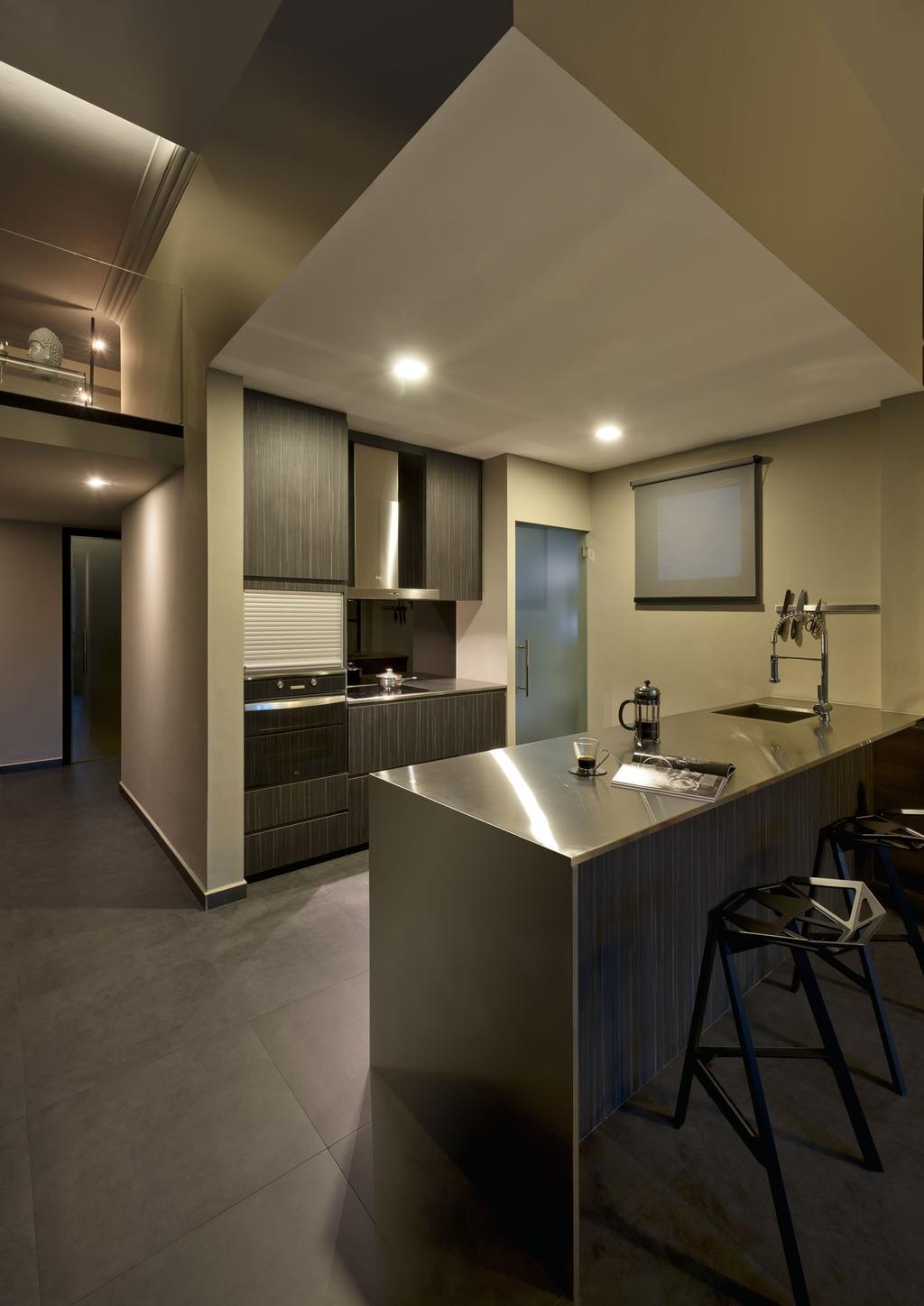 Modern, Condo, Kitchen, Kentish Green, Interior Designer, Rhiss Interior, Grey Tiles, Aluminium Island Top, Down Light, Sink, Indoors, Interior Design, Room