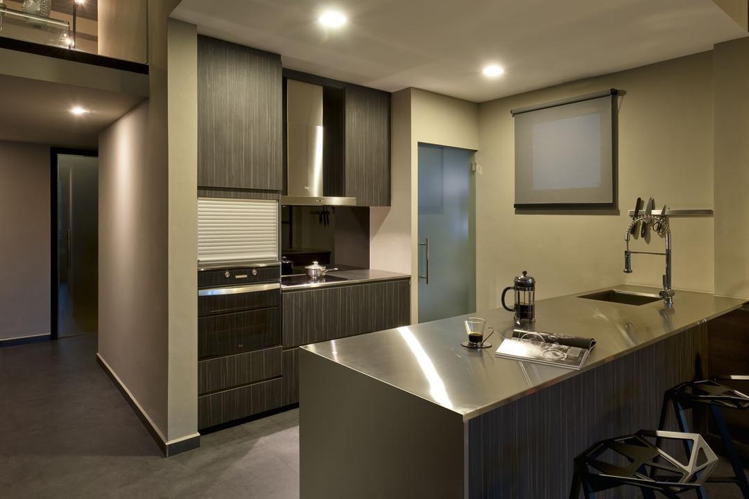 Kentish Green, Rhiss Interior, Modern, Kitchen, Condo, Grey Tiles, Aluminium Island Top, Down Light, Sink, Indoors, Interior Design, Room