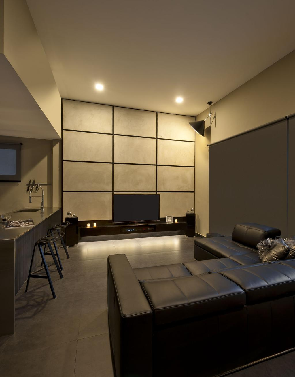 Modern, Condo, Living Room, Kentish Green, Interior Designer, Rhiss Interior, Black Leather Soda, Down Light, Contemporary, Couch, Furniture, Electronics, Entertainment Center, Home Theater, Indoors, Interior Design