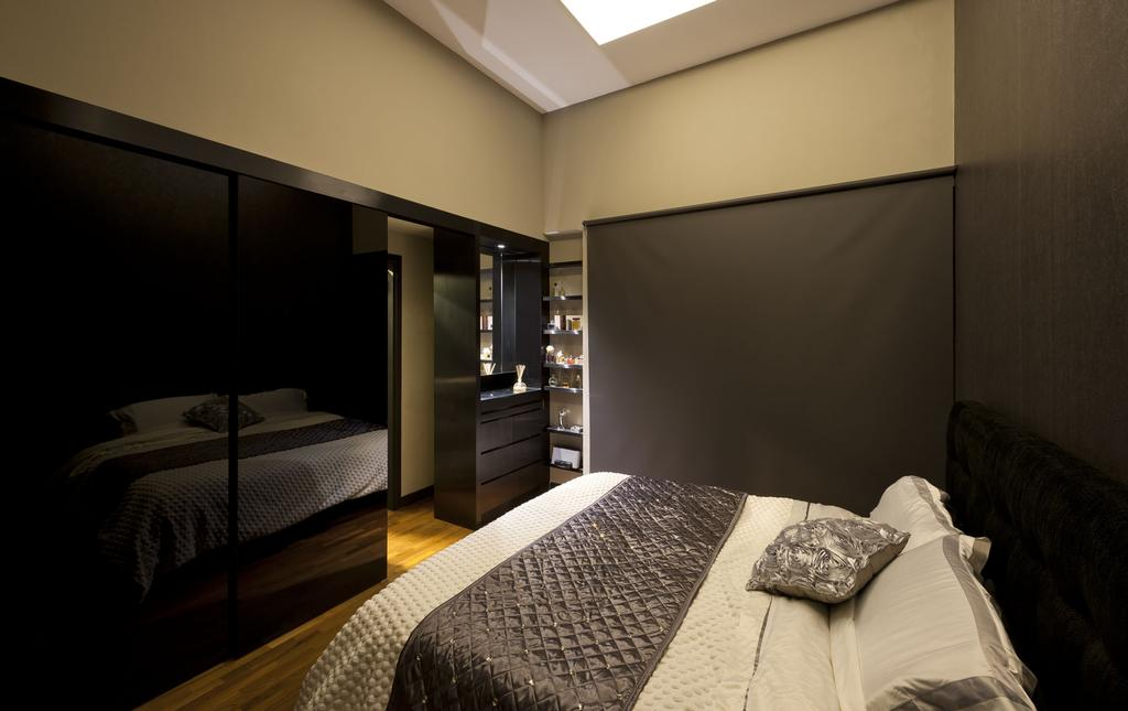 Modern, Condo, Bedroom, Kentish Green, Interior Designer, Rhiss Interior, Parquet, Sliding Door, Grey Roller Blinds, Bed, Furniture, Indoors, Room