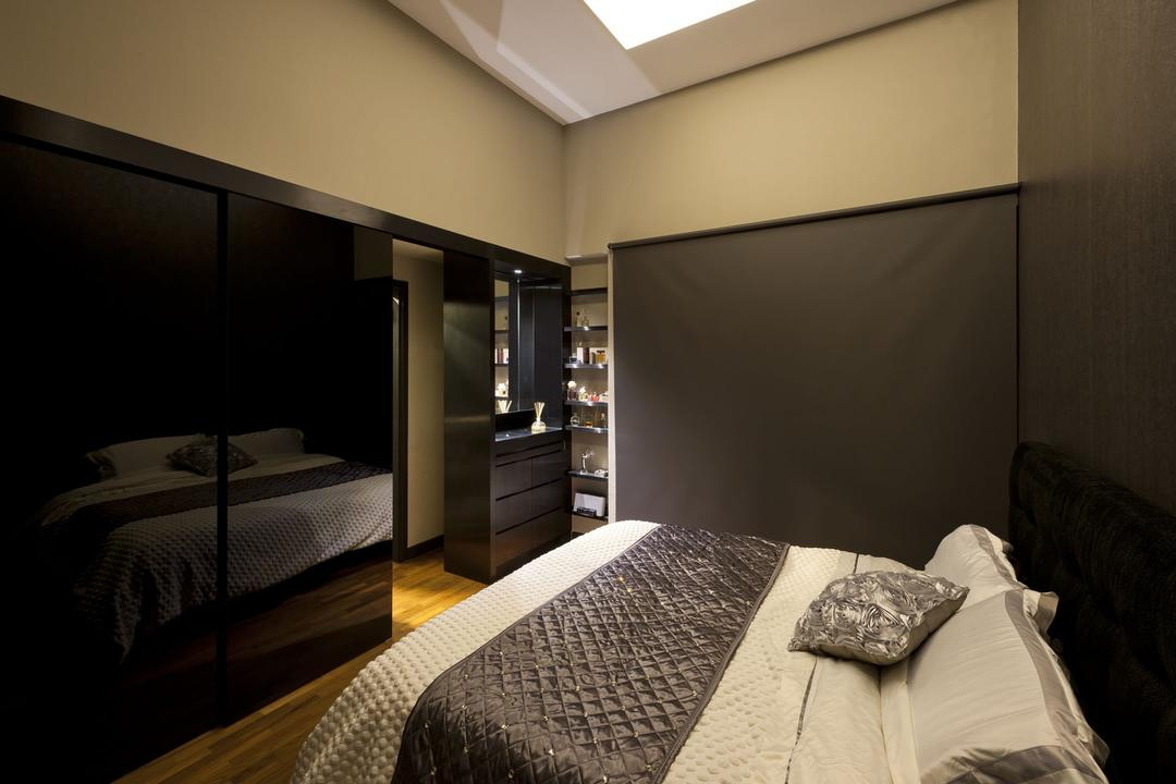 Kentish Green, Rhiss Interior, Modern, Bedroom, Condo, Parquet, Sliding Door, Grey Roller Blinds, Bed, Furniture, Indoors, Room