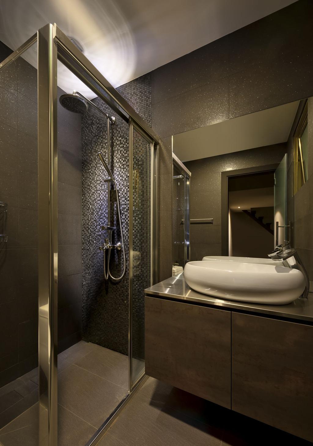 Modern, Condo, Bathroom, Kentish Green, Interior Designer, Rhiss Interior, Shower Screen, Grey Tiles, Indoors, Interior Design, Room