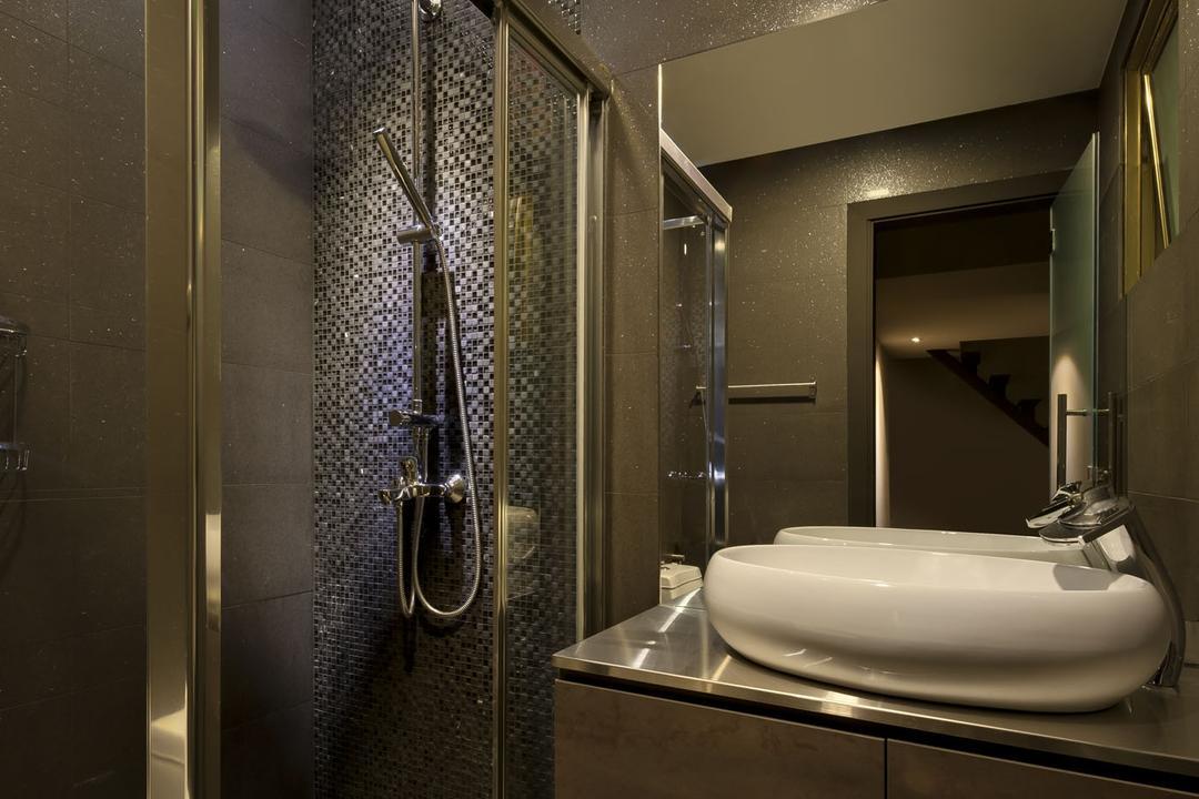 Kentish Green, Rhiss Interior, Modern, Bathroom, Condo, Shower Screen, Grey Tiles, Indoors, Interior Design, Room