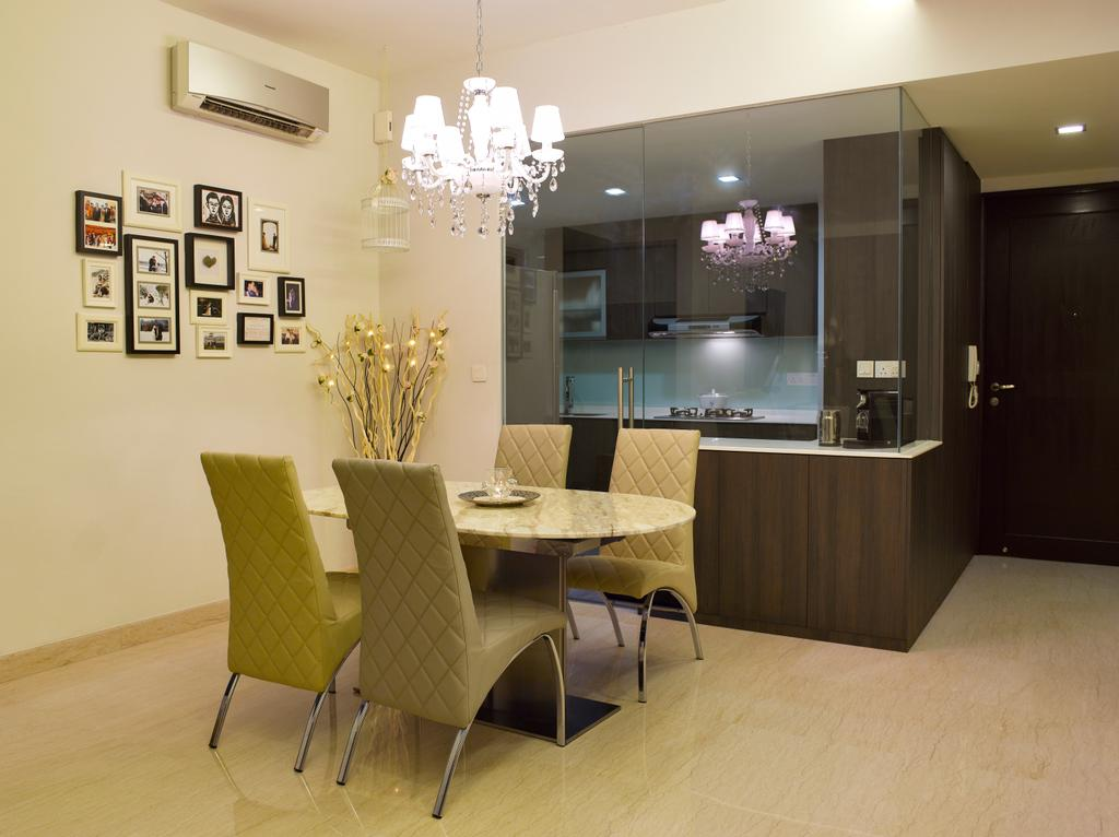 Contemporary, Condo, Kitchen, Sunrise Garden, Interior Designer, Rhiss Interior, Glass Partition, Half Hack, Chandelier, Quilted Chairs, Marble Floor, Cove Lights, Down Lights, Chair, Furniture, Flora, Jar, Plant, Potted Plant, Pottery, Vase, Dining Room, Indoors, Interior Design, Room, Dining Table, Table, Reception