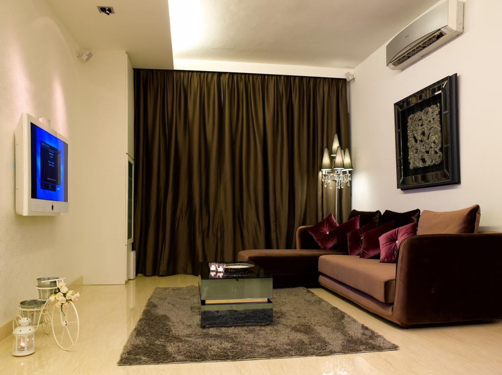 Contemporary, Condo, Living Room, Sunrise Garden, Interior Designer, Rhiss Interior, L Shaped Sofa, Brown Sofa, Brown Curtain, White Tv, Brown Rug, Cove Lights, Marble Floor, Couch, Furniture, Indoors, Room