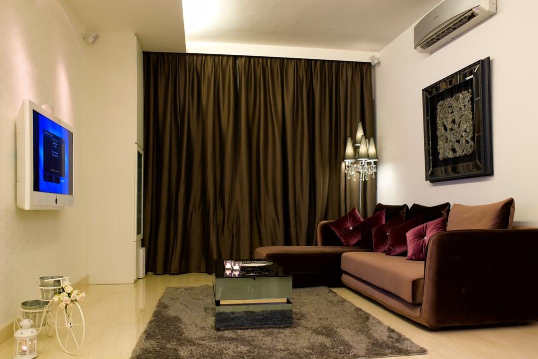Sunrise Garden, Rhiss Interior, Contemporary, Living Room, Condo, L Shaped Sofa, Brown Sofa, Brown Curtain, White Tv, Brown Rug, Cove Lights, Marble Floor, Couch, Furniture, Indoors, Room