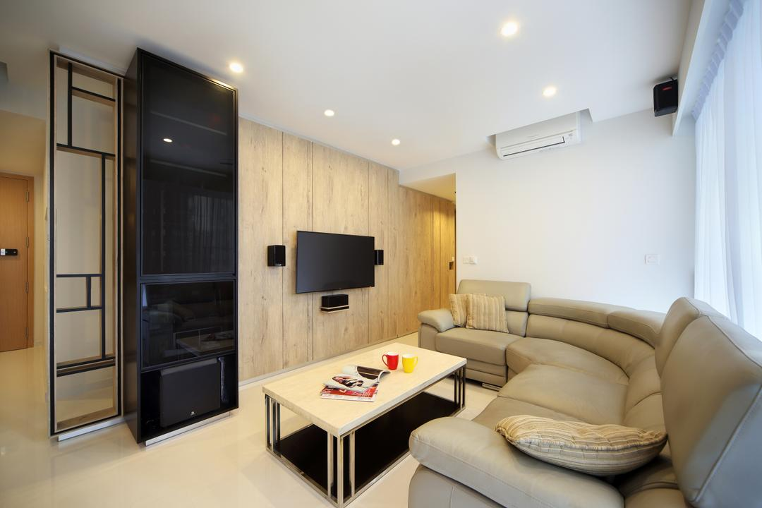 Austville Residences, The Scientist, Contemporary, Living Room, Condo, Marble Tiles, Semi Circle Leather Sofa, Down Lights, Black Glass Cabinet, Wood Wall, White Coffee Table, Couch, Furniture, Coffee Table, Table, HDB, Building, Housing, Indoors, Loft, Interior Design