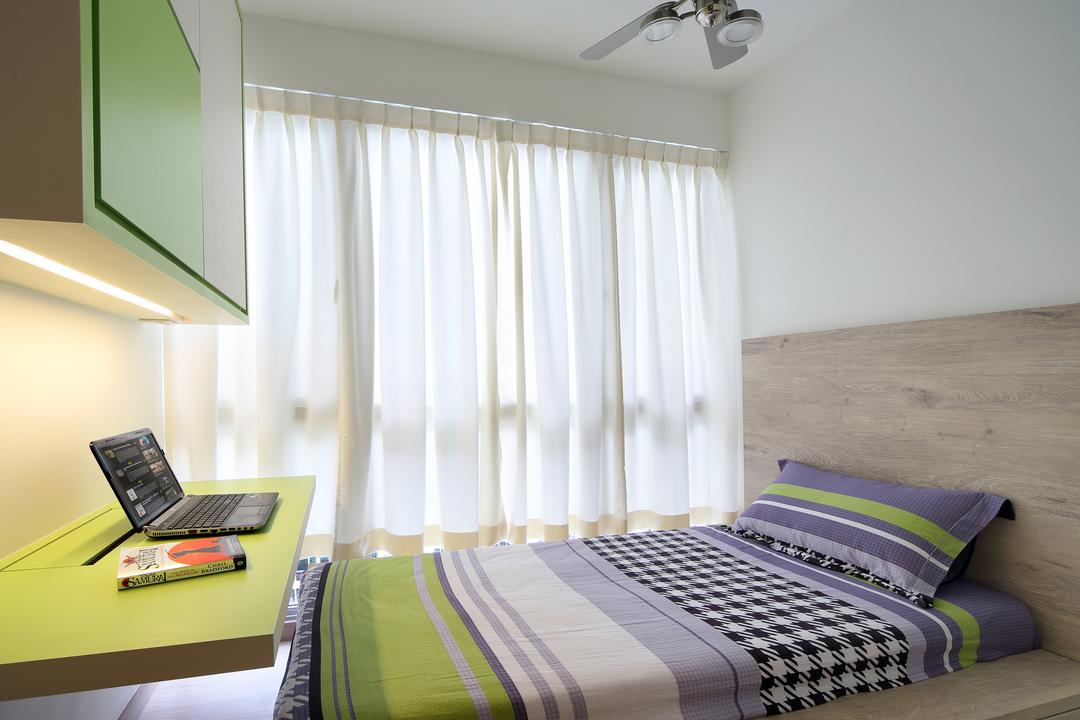 Austville Residences, The Scientist, Contemporary, Bedroom, Condo, Ceiling Fan, Wood Headboard, Green Study Desk, Study Cabinet, Home Decor, Quilt, HDB, Building, Housing, Indoors, Interior Design, Room