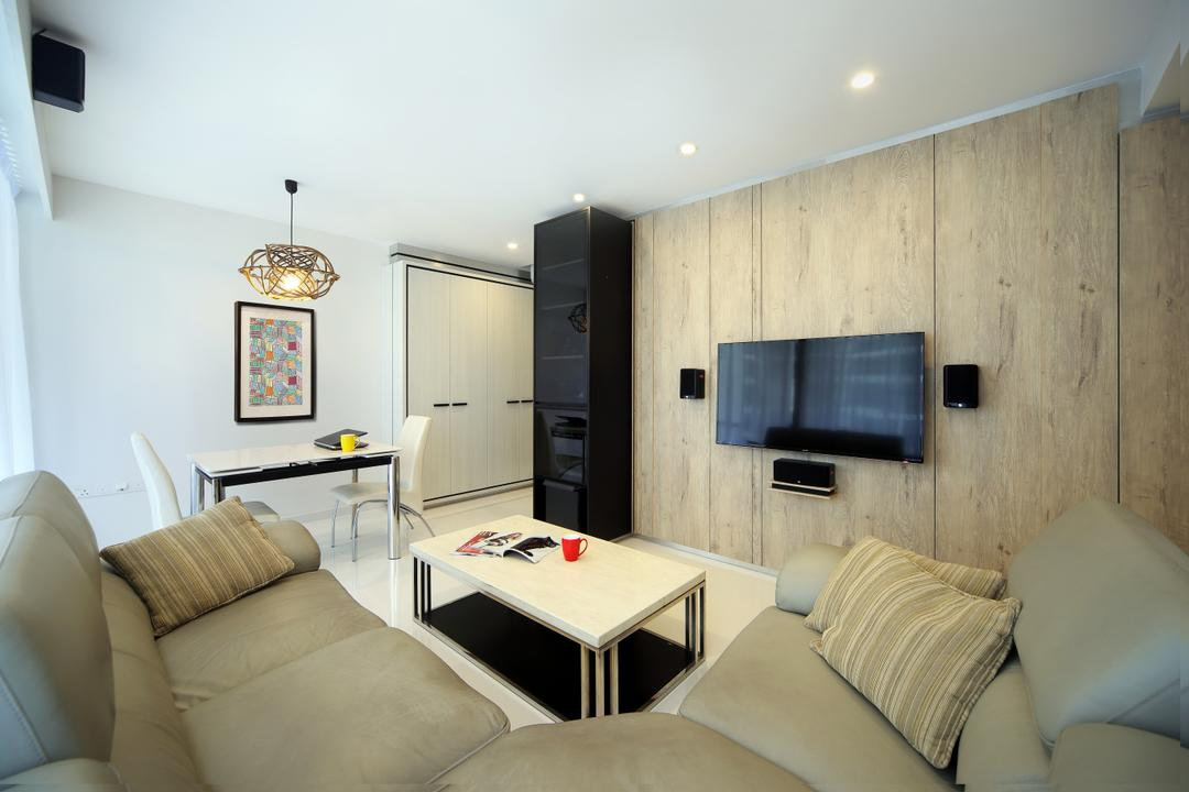 Austville Residences, The Scientist, Contemporary, Living Room, Condo, Semi Circle Sofa, Wood Wall, Black Glass Cabinet, White Dining Chair, White Dining Table, Dining Light, Hanginig Light, Down Lights, Couch, Furniture, Indoors, Room