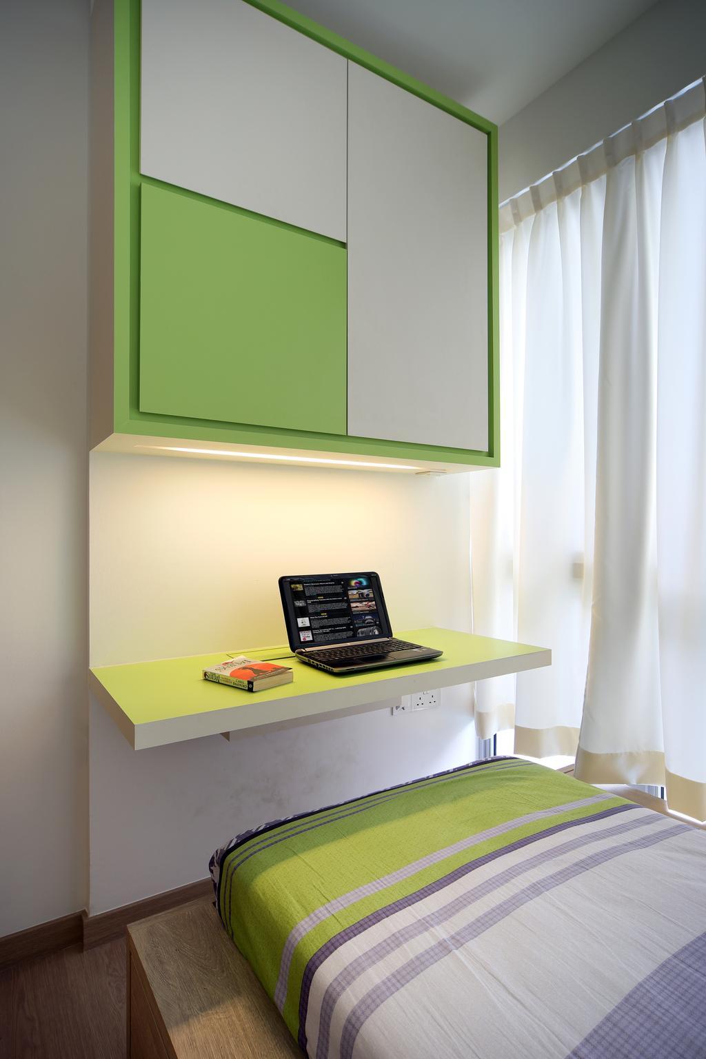 Contemporary, Condo, Bedroom, Austville Residences, Interior Designer, The Scientist, Study Desk, Study Cabinet, Green Desk, Computer, Electronics, Laptop, Pc